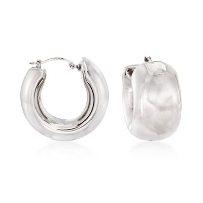 Sterling Silver Wide Hoop Earrings, , default