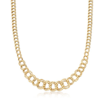 14kt Yellow Gold Double-Oval Graduated Link Necklace, , default
