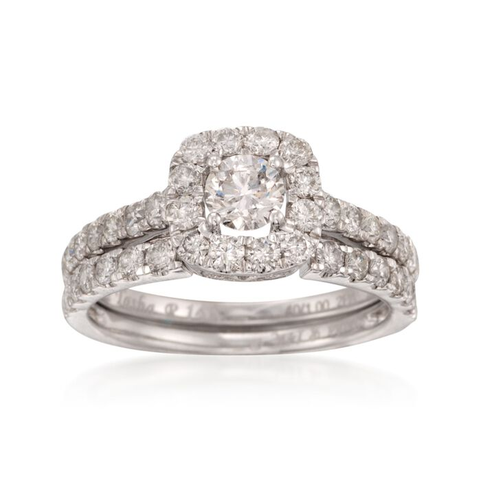 1.40 ct. t.w. Diamond Bridal Set: Engagement and Wedding Rings in 14kt White Gold, , default