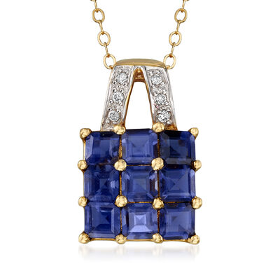 C. 1990 Vintage 2.00 ct. t.w. Iolite Pendant Necklace with Diamond Accents in 14kt Yellow Gold, , default