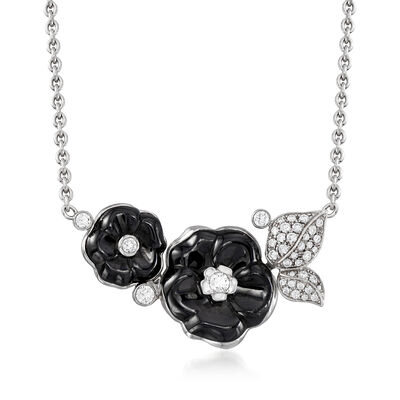 C. 1990 Vintage Chanel Black Ceramic and .50 ct. t.w. Diamond Camellia Flower Necklace in 18kt White Gold, , default