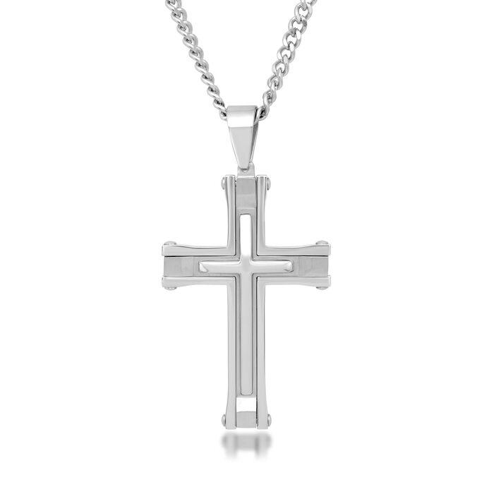 "Men's Stainless Steel Cross Pendant Necklace. 24"", , default"