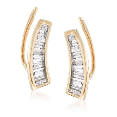 .50 ct. t.w. Baguette Diamond Ear Climbers in 14kt Yellow Gold, , default