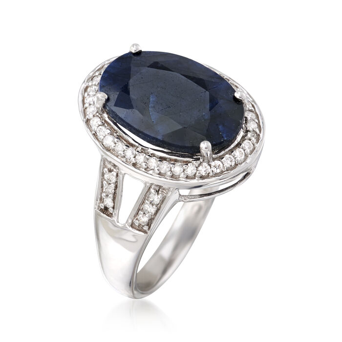 6.50 Carat Sapphire and .25 ct. t.w. Diamond Ring in 14kt White Gold