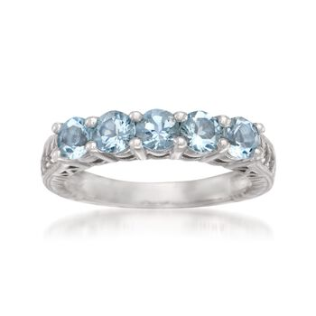 1.15 ct. t.w. Aquamarine 5-Stone Ring in Sterling Silver, , default