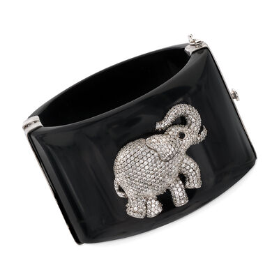Black Acrylic Bangle Bracelet With 6.30 ct. t.w. CZ Elephant and Smoky Quartz Accents in Sterling, , default