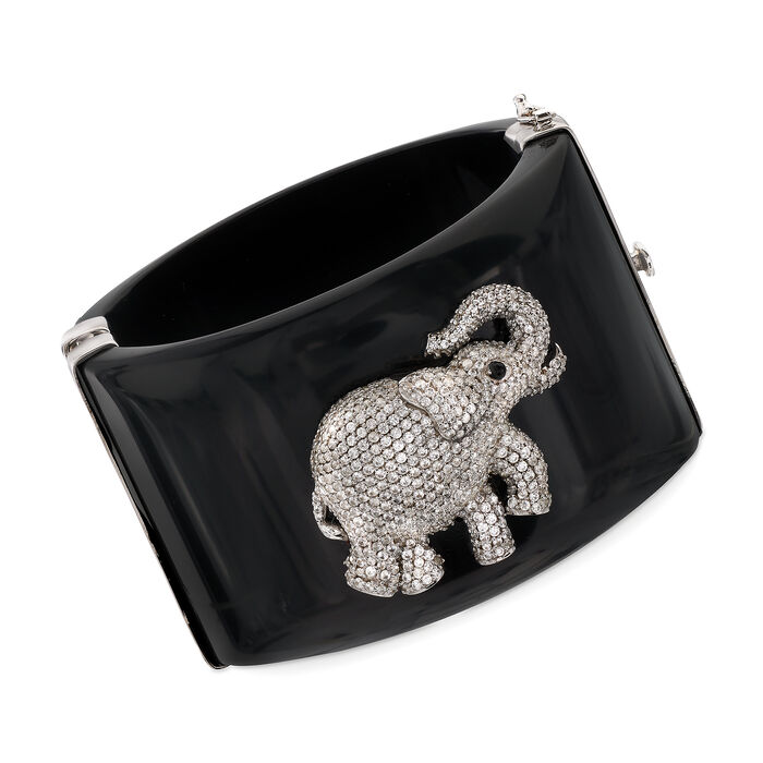 """Black Acrylic Bangle Bracelet with 6.30 ct. t.w. CZ Elephant and Smoky Quartz Accents in Sterling. 7"""", , default"""