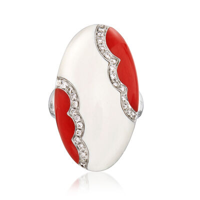 C. 1990 Vintage White Jade, Red Coral and .36 ct. t.w. Diamond Ring in 18kt White Gold, , default