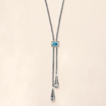 2.40 Carat Sky Blue Topaz Scrollwork Drop Necklace in Sterling Silver