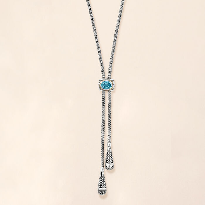 2.40 Carat Sky Blue Topaz Scrollwork Drop Necklace in Sterling Silver