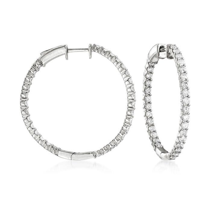 """2.00 ct. t.w. Diamond Inside-Outside Hoop Earrings in 14kt White Gold. 1 1/8"""", , default"""