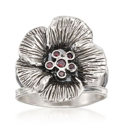 Garnet Accent Flower Ring in Sterling Silver, , default