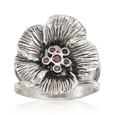 Garnet Accent Flower Ring in Sterling Silver, , default
