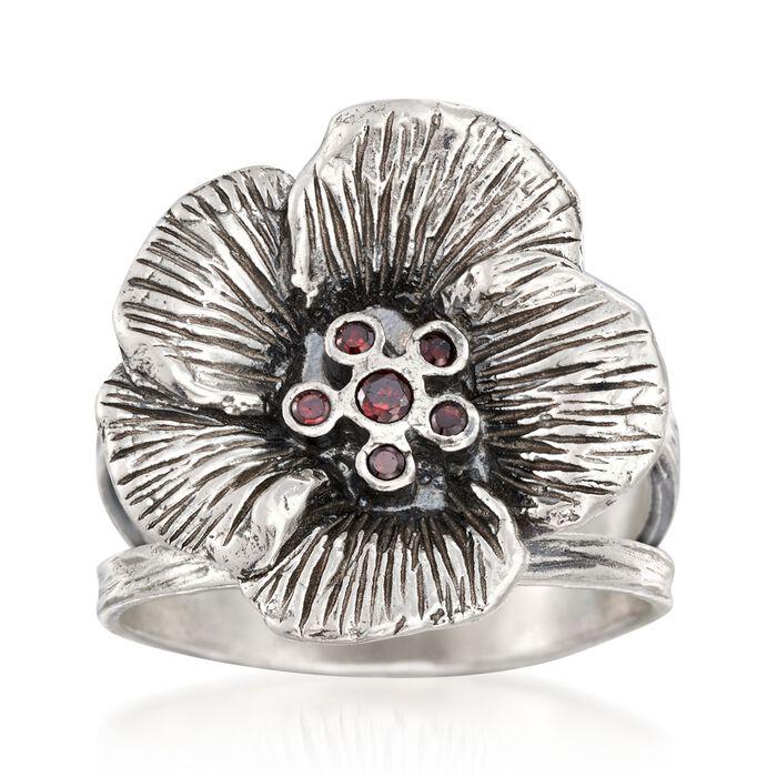 Garnet Accent Flower Ring in Sterling Silver. Size 6, , default