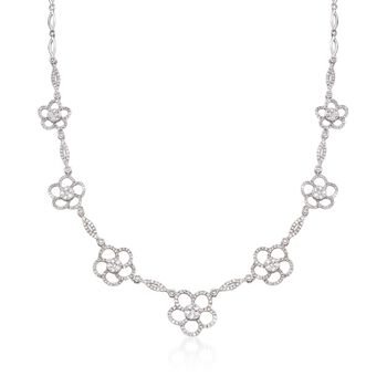 "3.60 ct. t.w. Diamond Flower Station Necklace in 14kt White Gold. 17"", , default"