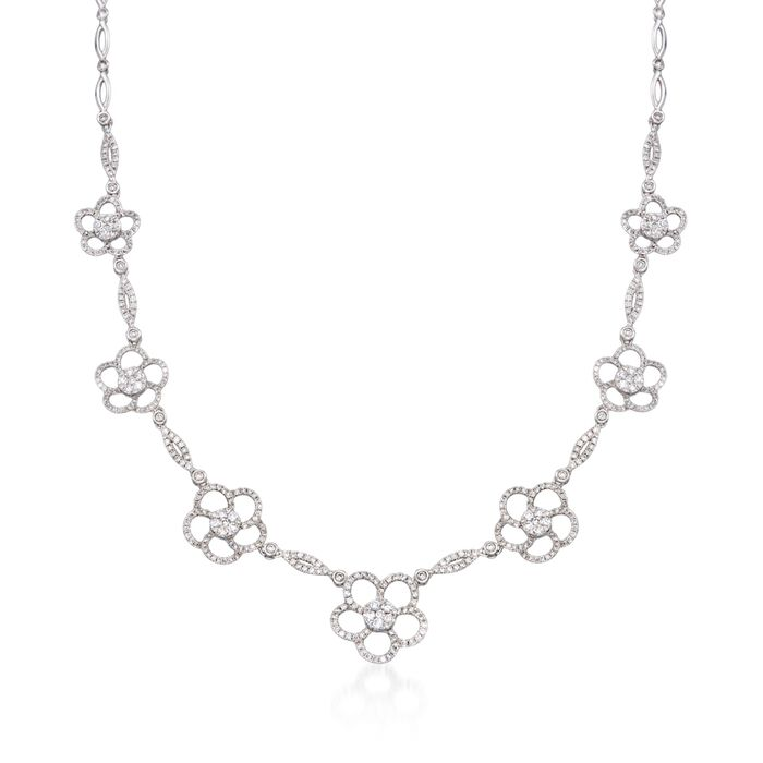 """3.60 ct. t.w. Diamond Flower Station Necklace in 14kt White Gold. 17"""", , default"""