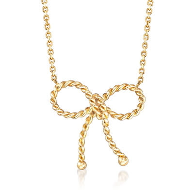 Italian 18kt Yellow Gold Twisted Bow Necklace, , default