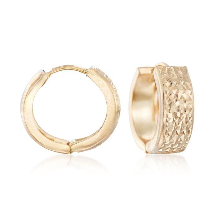 "Italian 18kt Yellow Gold Faceted Hoop Earrings. 1/2"", , default"