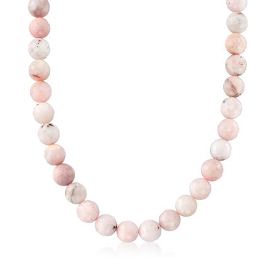12mm Pastel Pink Opal Bead Necklace with Sterling Silver, , default