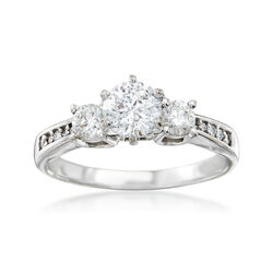 C. 1990 Vintage 1.55 ct. t.w. Three-Stone Diamond Engagement Ring in 14kt White Gold, , default