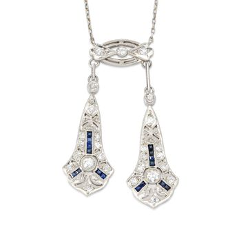 "C. 1910 Vintage .50 ct. t.w. Round European-Cut Diamond Necklace With Sapphires in Platinum. 16.5"", , default"