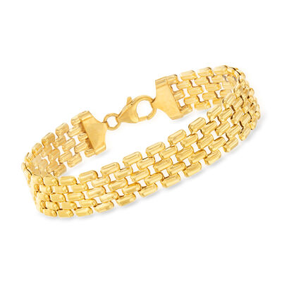 Italian 18kt Gold Over Sterling Panther Link Bracelet, , default