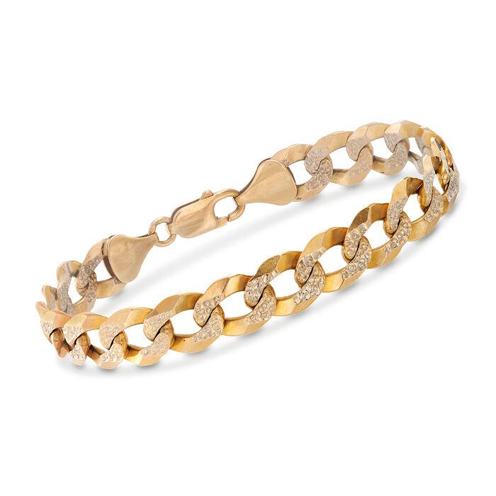 """C. 1980 Vintage 10kt Two-Tone Gold Curb-Link Bracelet. 8.5"""", , default"""