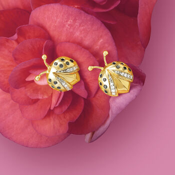 .15 ct. t.w. Black and White Diamond Ladybug Earrings in 14kt Yellow Gold