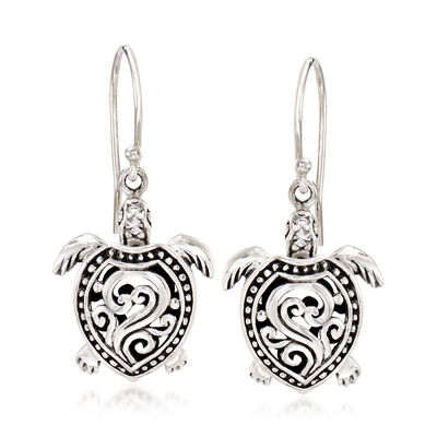 Sterling Silver Filigree Turtle Drop Earrings, , default