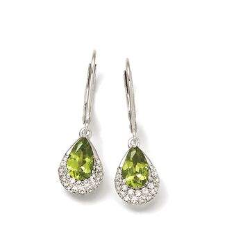 2.00 ct. t.w. Peridot and .44 ct. t.w. White Zircon Drop Earrings in Sterling Silver, , default