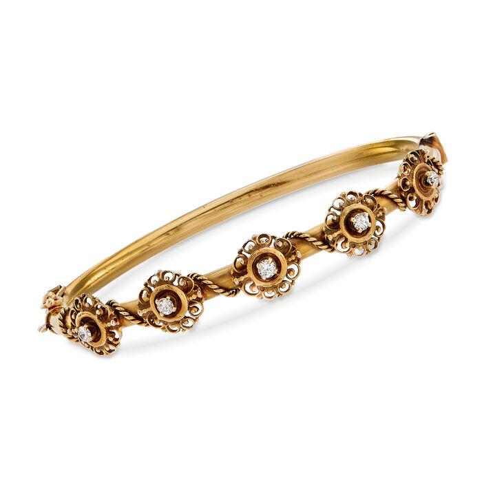 C. 1950 Vintage .30 ct. t.w. Diamond Floral Bangle Bracelet in 14kt Yellow Gold