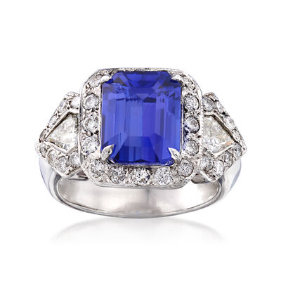 4.90 Carat Tanzanite and 1.36 ct. t.w. Diamond Ring in 18kt White Gold, , default