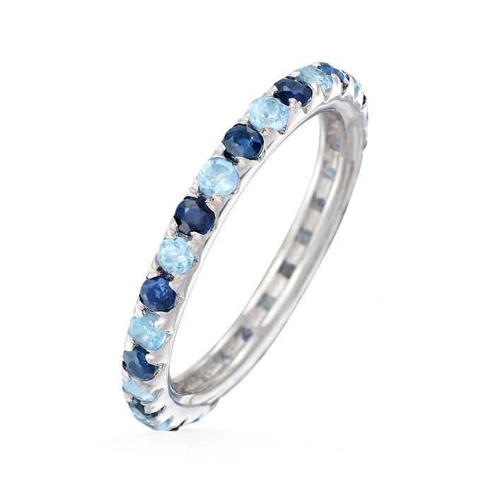 .60 ct. t.w. Sapphire and .50 ct. t.w. Swiss Blue Topaz Eternity Band in Sterling Silver