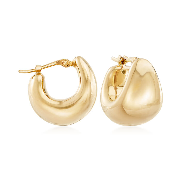 14kt Yellow Gold Over Sterling Silver Puffed Dome Hoop Earrings. 1/2""
