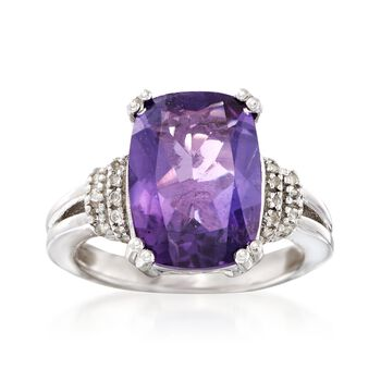 5.25 Carat Cushion-Cut Amethyst and .10 ct. t.w. White Topaz Ring in Sterling Silver, , default