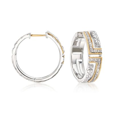 "Andrea Candela ""Laberinto"" .10 ct. t.w. Diamond Hoop Earrings in 18kt Gold and Sterling Silver"