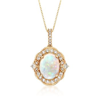 """Australian Opal and .35 ct. t.w. Diamond Pendant Necklace in 14kt Yellow Gold. 18"""", , default"""