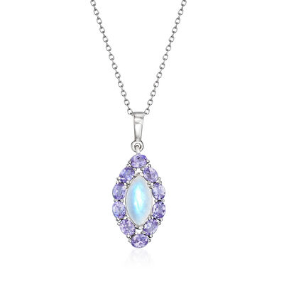 Moonstone and 1.60 ct. t.w. Tanzanite Pendant Necklace in Sterling Silver