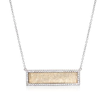 """.62 ct. t.w. CZ Textured Bar Necklace in Two-Tone Sterling Silver. 16"""", , default"""