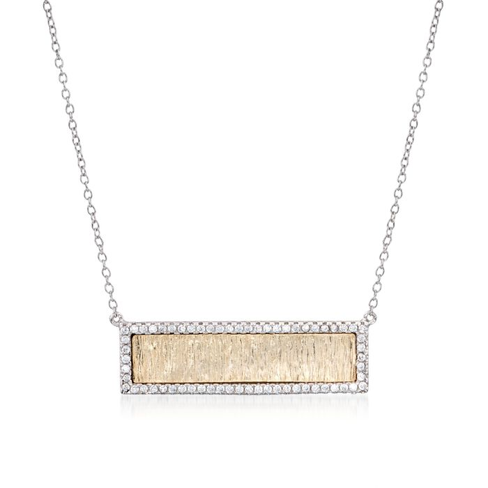 ".62 ct. t.w. CZ Textured Bar Necklace in Two-Tone Sterling Silver. 16"", , default"