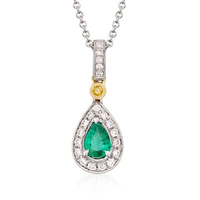 Simon G. .22 Carat Emerald and .16 ct. t.w. Yellow and White Diamond Pendant Necklace in 18kt Two-Tone Gold