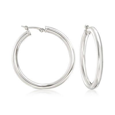 Sterling Silver Hoop Earrings, , default