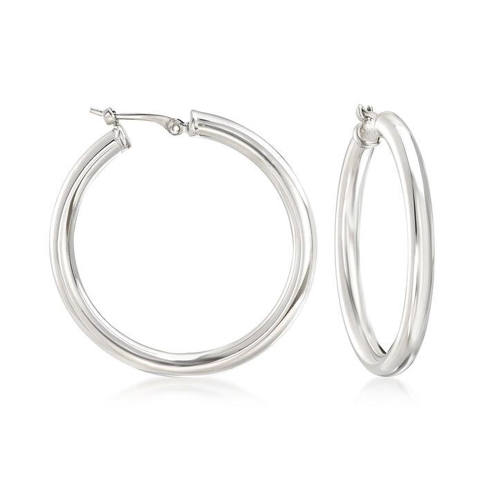 """Sterling Silver Hoop Earrings. 1 1/8"""", , default"""