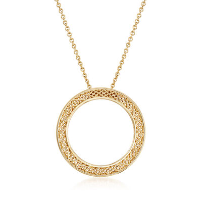 Roberto Coin 18kt Yellow Gold Mesh Circle Necklace