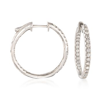 "1.00 ct. t.w. Diamond Inside-Outside Hoop Earrings in 14kt White Gold. 7/8"", , default"