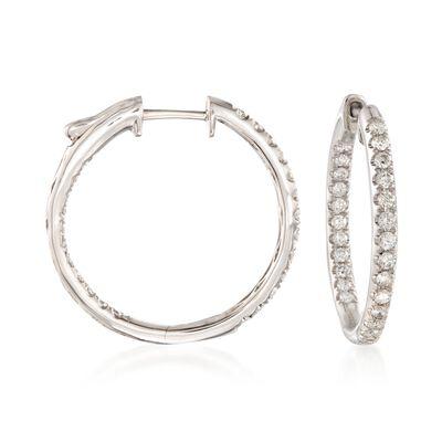 1.00 ct. t.w. Diamond Inside-Outside Hoop Earrings in 14kt White Gold, , default