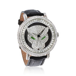 Saint James Women's 46mm Crystal Panther Watch With Black Leather in Silvertone, , default