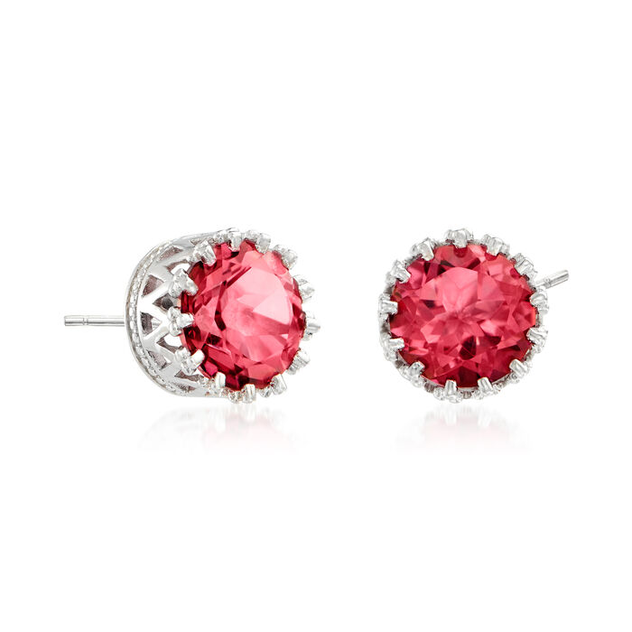 3.50 ct. t.w. Pink Quartz Crown Stud Earrings in Sterling Silver