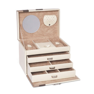 "Brouk & Co. ""Madison"" Beige Faux Leather Jewelry Box, , default"