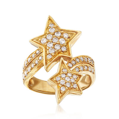 C. 1980 Vintage .70 ct. t.w. Diamond Bypass Star Ring in 18kt Yellow Gold, , default